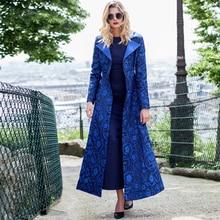 High Quality 2016 print spring wool jacket women winter overcoat clothing Long  slim warm Jacket coat