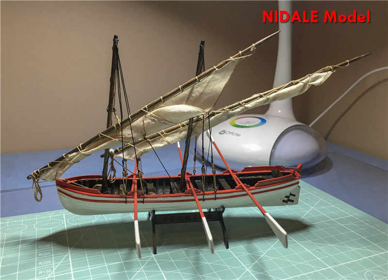 NIDALE model Scale 1/50 Double mast Fishing boat Whole ribbed sail boat model kits