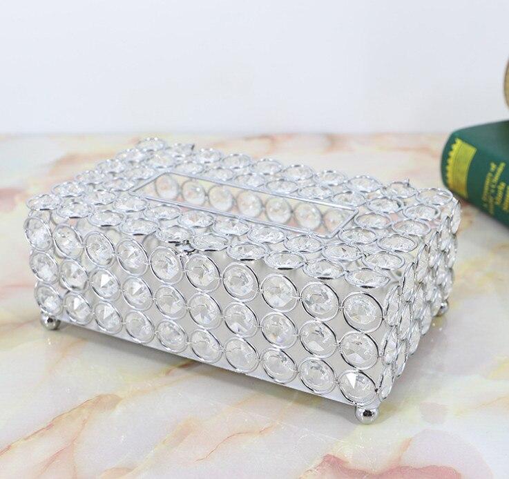 Metal argenté Boîte de Tissu perles en cristal boite à lingettes Cas De Tissu Pour La Maison De Mariage décoration de table