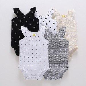 2018 baby girl body/letnie stroje z marszczone rękawy/geometryczny wzór wydruku
