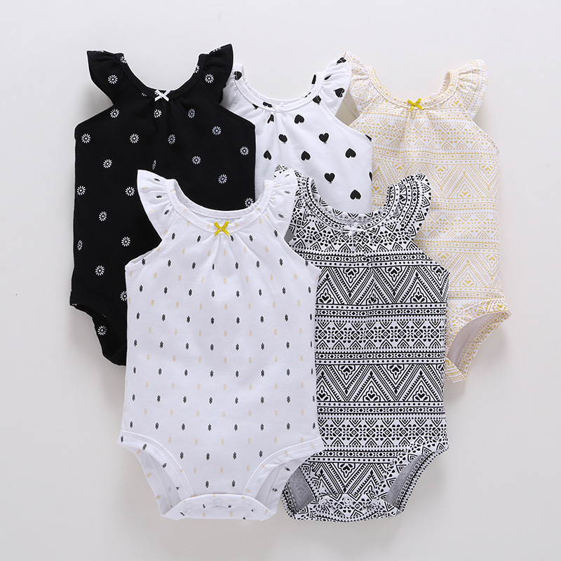 2018  Baby Girl Bodysuits / Summer Outfits With Ruffled Sleeves / Geometric Design Print