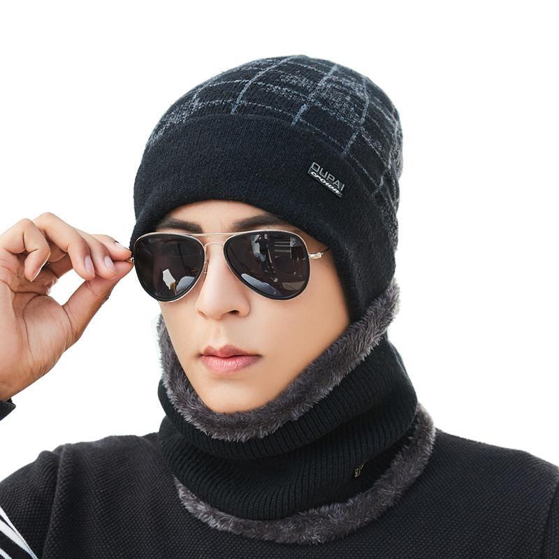 Balaclava wool Neck warmer winter hat knit cap scarf cap Winter Hats For men knitted hat men Beanie Knit Hat Skullies Beanies