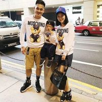 Family Look Family Clothing Family Matching Clothes Character Bear 3D Print Hoodies Cotton Full Sleeved Sweatershirts