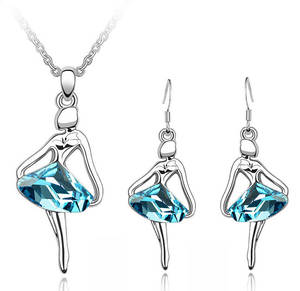 Necklace Earrings Pendant Jewelry-Set Crystal Dancing Bridal Austria Women Fashion Free
