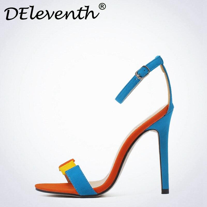 Tacones Empalme Patchwork Zapatos Stiletto Altos Gamuza Mujeres Hebilla Correa Toe Sexy Sandalias 2017 Mujer Azul Mixcolor Peep XEqPnz