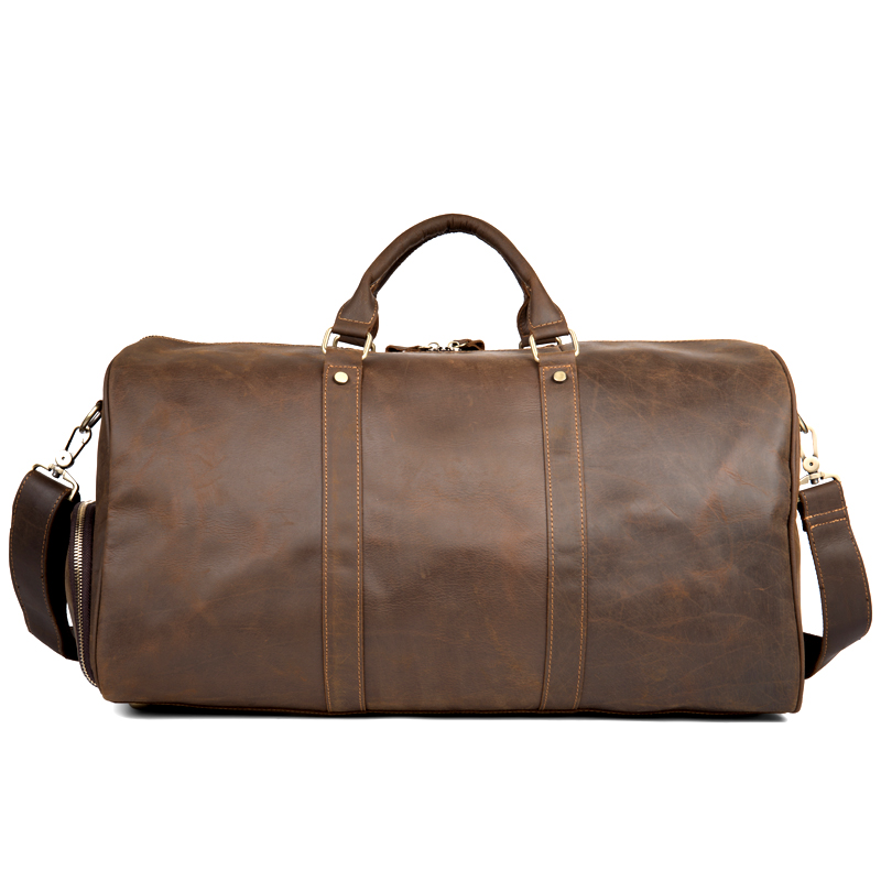 642d91f343a3 Crazy Horse Genuine Leather Travel Bag Men Vintage Travel Duffel bag big  Cow Leather Carry On Luggage Weekend large shoulder Bag-in Travel Bags from  Luggage ...
