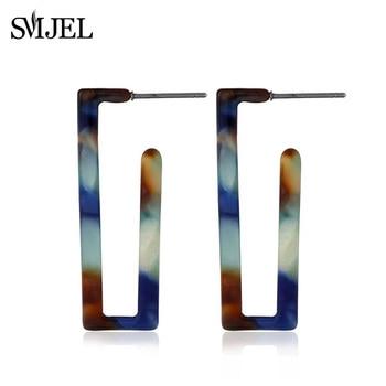 SMJEL pendientes de ácido acético coreanos japoneses cuadrados geométricos minimalistas de resina pendiente de aro de mármol acrílico ornamento colorido de la oreja
