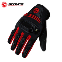 SCOYCO Motorcycle Gloves Motorbike Full Finger Gloves Riding Guantes Breathable Mesh Fabric Motocross Off Road Racing