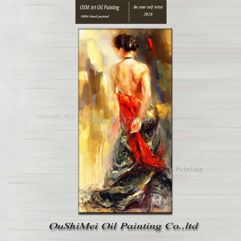 Sexy Girl Flamenco Dancer Woman Portrait Oil Painting Canvas Large Abstract Portrait Canvas Wall Art for Living Room Decoration