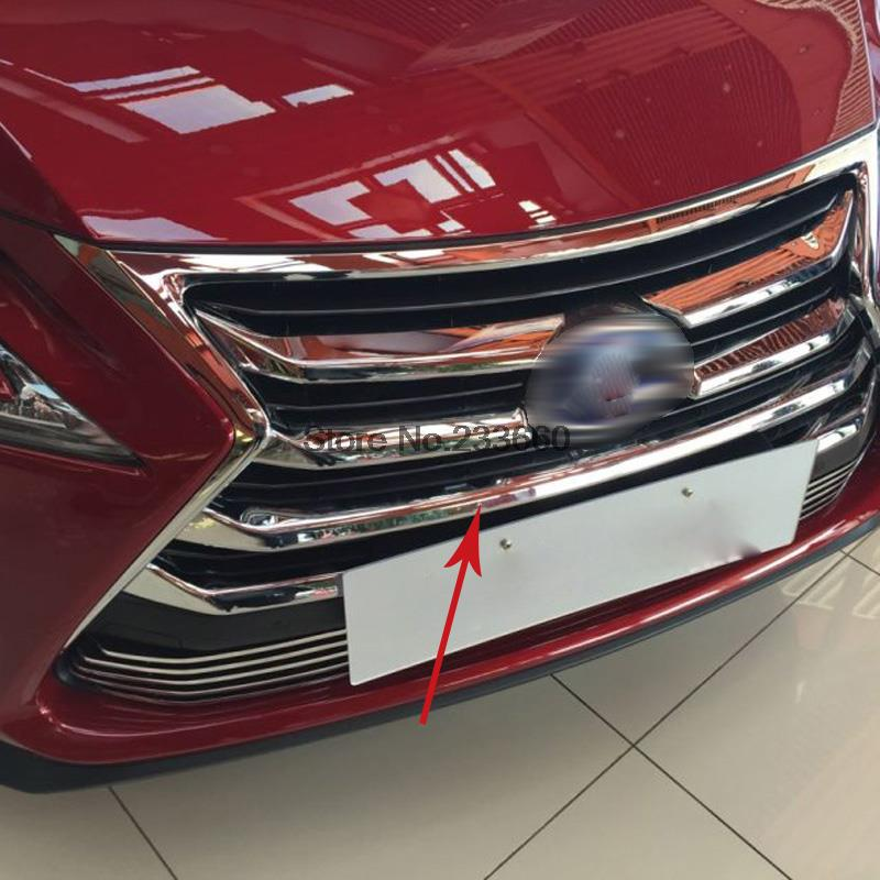 For Lexus NX200 NX300H 2015 2016 ABS Chrome Front Grille Around Trim Front Center down Grill Grille Cover Racing Grills 7pcs abs chrome front upper grille for 2015 2016 lexus nx 200 nx200t nx300h center grill cover around trim car styling accessories
