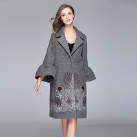 2018 Winter Elegant Women Wool Coat Embroidery Vintage Flare Sleeve Loose Female Warm Woolen Coat Outwears High Quality O705