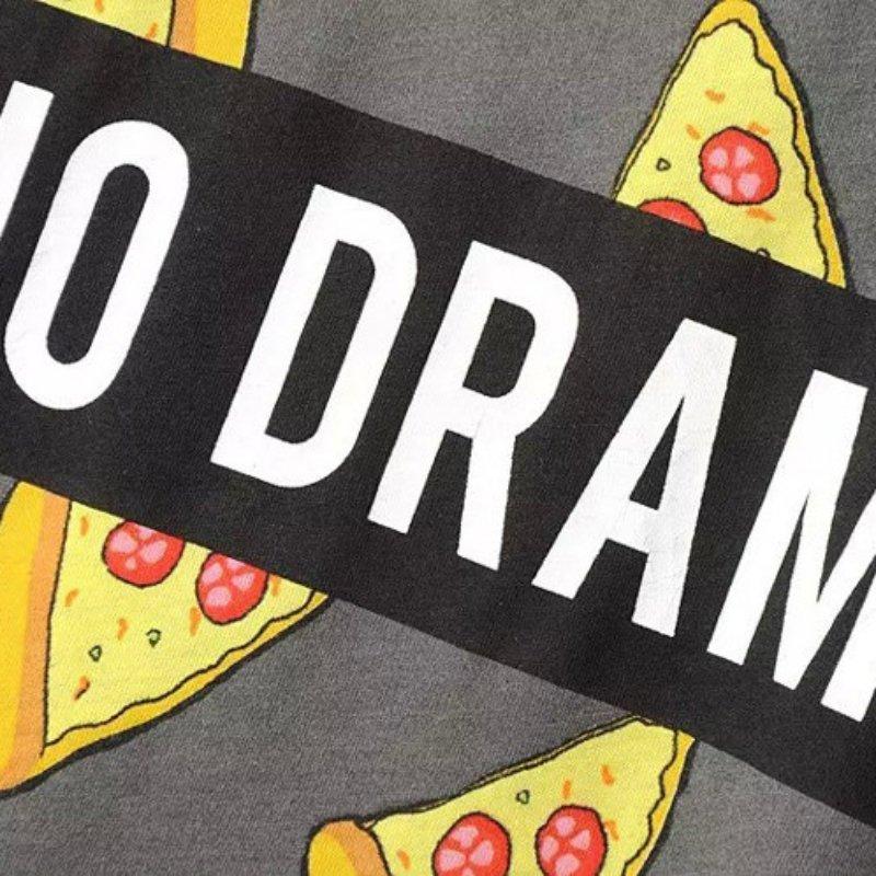 Ingen DRAMA T-shirt Kvinder Cute Pizza Letters Print Kortærmet Toppe - Dametøj - Foto 3