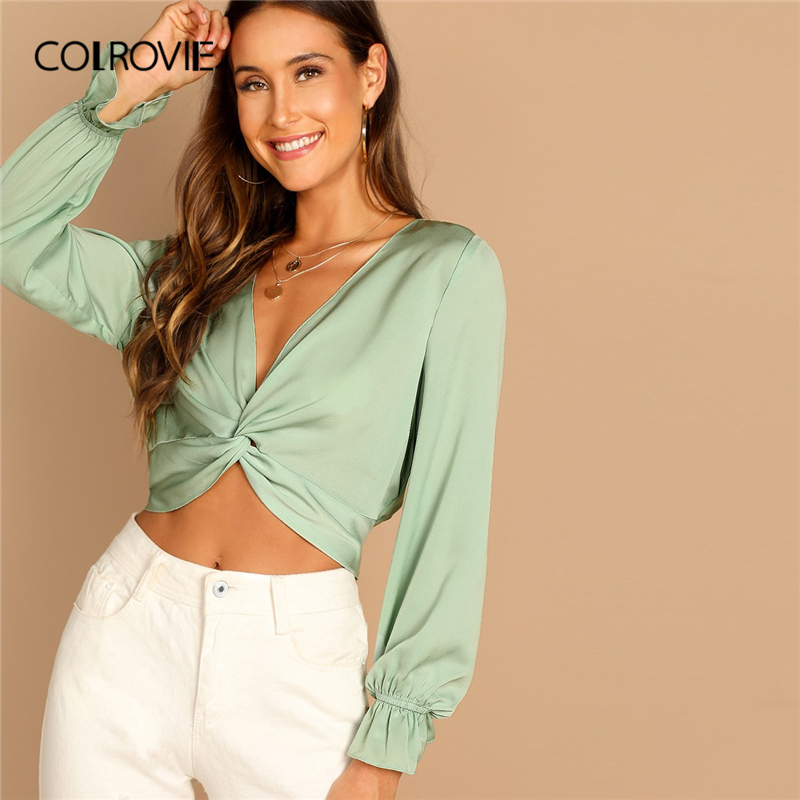 COLROVIE Green Deep V Neck Twist Sexy Crop   Blouse     Shirt   Women 2019 Spring Long Sleeve Korean Office Ladies Tops And   Blouses