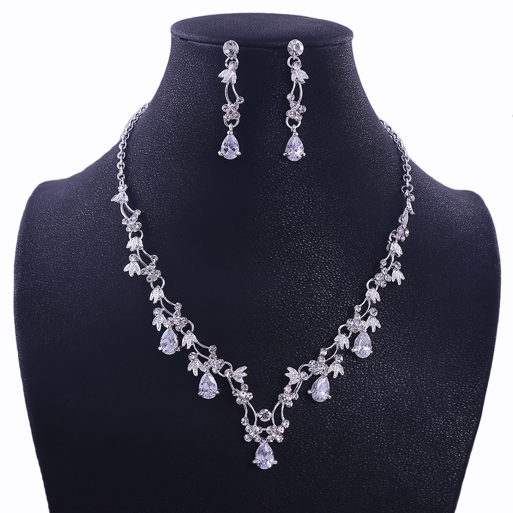 Sliver Plated Rhinestone Crystal Faux Pearl Necklace+Earring Jewelry Set For Bride Bridal Wedding (7)