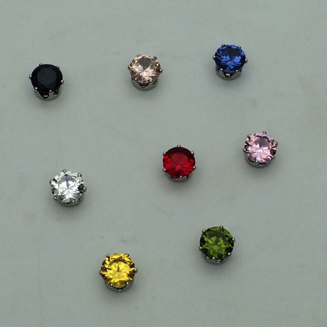 1 Pair 8 color 6mm Magnetic Magnet Ear Stud Easy Use Crystal Stone Stud Earrings For Women Men Earrings Clip On No Ear Hole gift