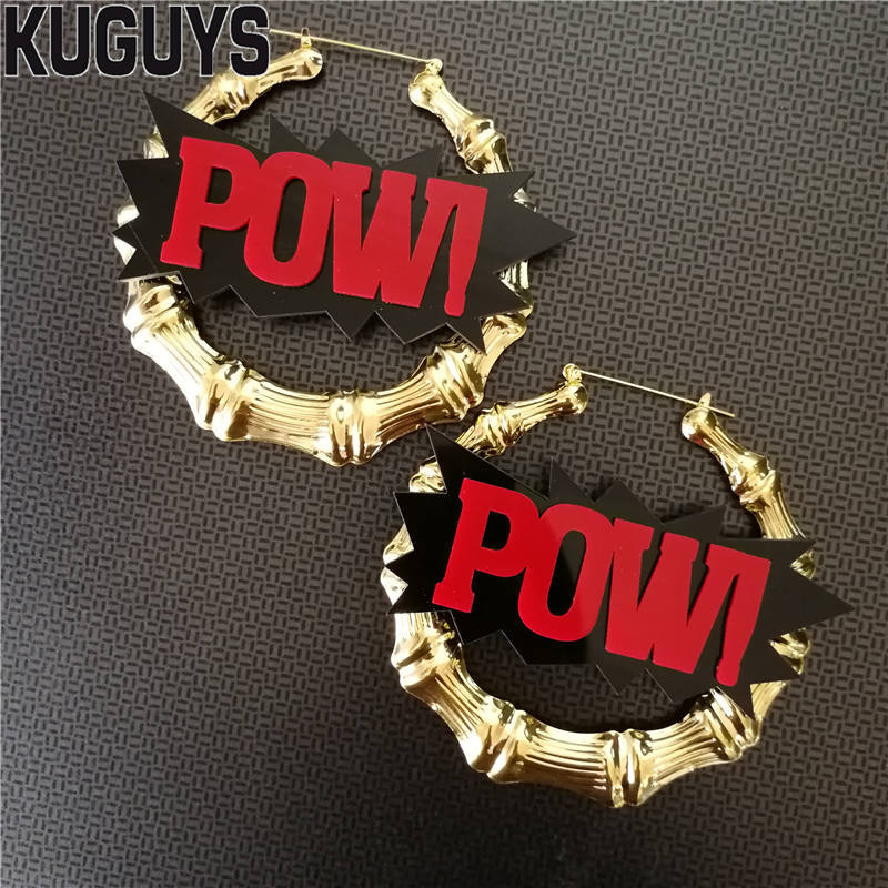 f6352321a KUGUYS Fashion Acrylic Jewelry Custom Gold Bamboo Large Hoop Earrings for  Women Brincos HipHop Rock Red