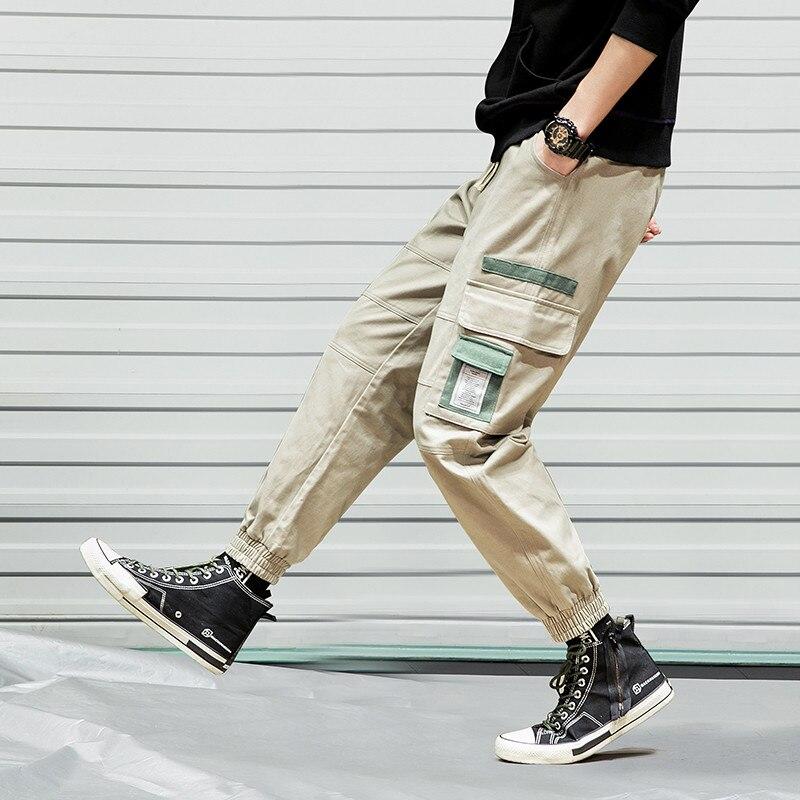 Dynamic El Barco Summer Cotton Harem Cargo Pants Men Black Khaki Hip Hop Male Streetwear Pencil Pants Casual Long Trousers Grey Joggers