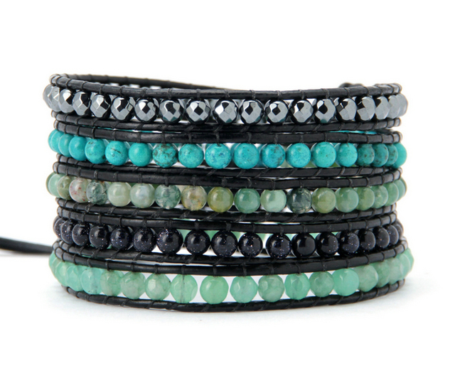 Us 12 65 New Mixed Semi Precious Stones Leather Wrap Bracelet Whole Woven Costume Jewellery Gifts In Bracelets