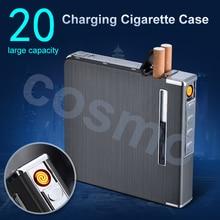20 Cigarettes 4 color USB Electric Lighters Thin Aluminum Metal Automatic Electronic Cigarette Case