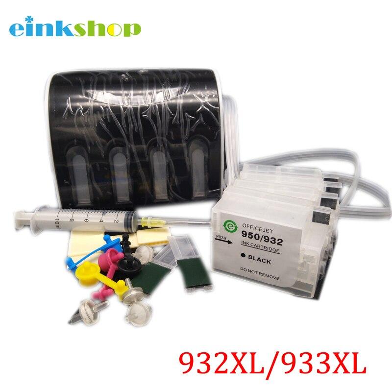 Einkshop Система непрерывной подачи чернил для hp 932 933 непрерывной подачи чернил Системы с не существует чип обнуления для hp Officejet 6100 6600 6700 7110 7610 7612 принтер