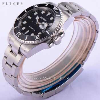 BLIGER 43mm black Ceramic Bezel dial Luminous sapphire automatic Date Day mens watch