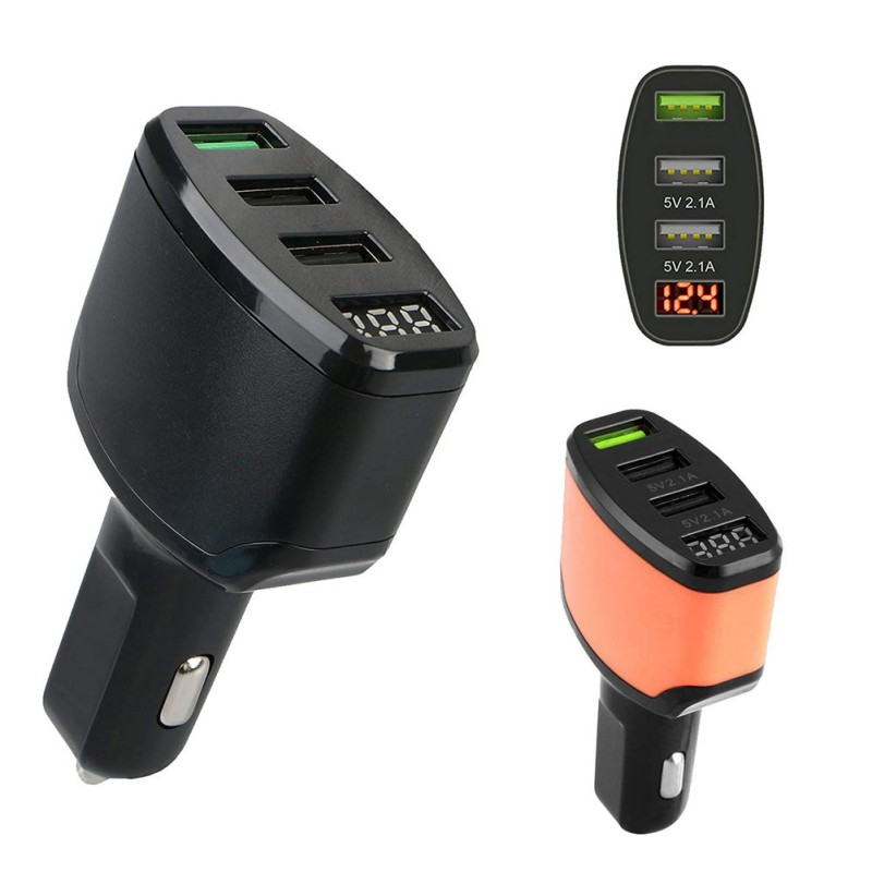 Electric Vehicle Parts 12-24v 3-port Usb 4.2a Quick Charge 3.0 Car Charger Lighter Adapter Led Display Fast Charging Power For Mobile Phone Curing Cough And Facilitating Expectoration And Relieving Hoarseness
