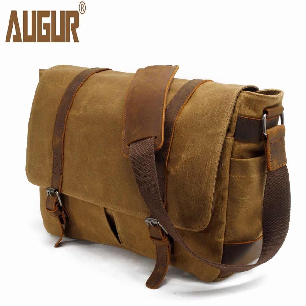 11ac55d51b01 AUGUR мужская сумка высокого качества холщовая кожаная сумка через плечо  мужская Военная армейская винтажная большая сумка