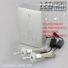 led h4 h7 h1 9005 9006 9004 9007 h3 h13 R3 9600lm 6000K 50W Car LED Headlights XHP-50 led lamps for car