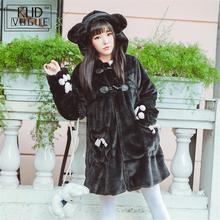 Japenese Style Kawaii Cute Cat Paw Autumn Winter Warm Thick Plus Velvet Claw Button Jacket Lolita Bow Hooded White Black Coat