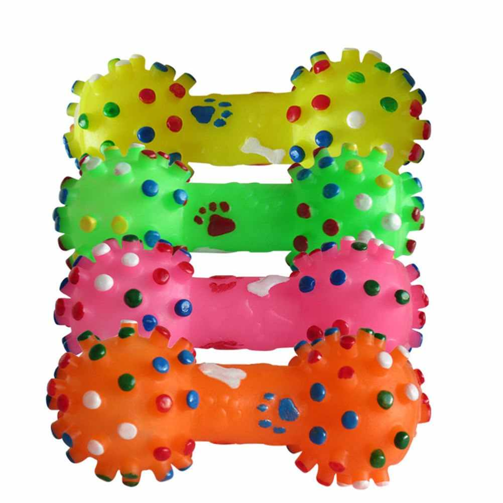 Kolorowe kropkowane hantle w kształcie zabawki dla psów wycisnąć skrzypiące sztuczna kość zabawki do gryzienia dla zwierząt dla psów