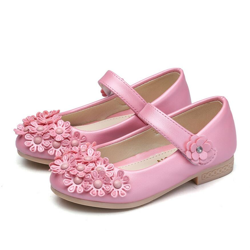 Childrens Leather Shoes Brand Fashion Princess Flower Single Girls Wedding Students White Shoes Infantis nina