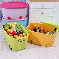 High Quality Cute Cartoon Children's Cloth&Toys Plastic Thicken Storage Box With Wheel Cover Sundries Storage Box 25*31.5*47cm
