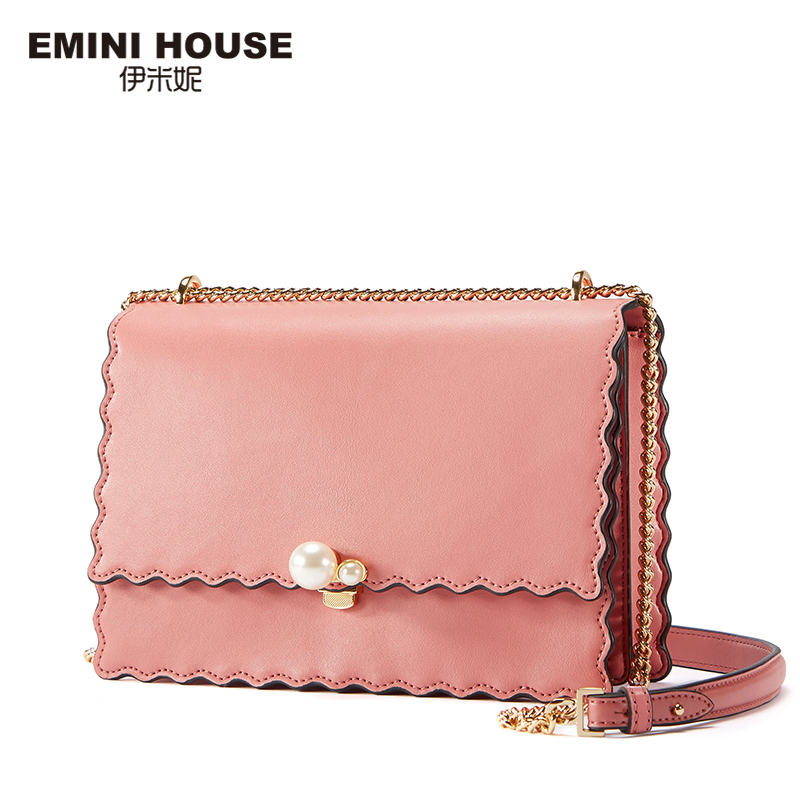 EMINI HOUSE Chain Strap Crossbody Bags For Women Messenger Bag Split Leather Padlock Pearl Design Women's Over-the-Shoulder Bags emini house indian style bag women messenger bags split leather crossbody bags for women shoulder bag chic chain original design
