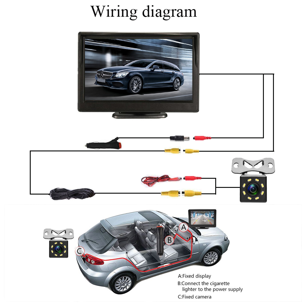 Podofo Car Rear View Monitor Waterproof 8 Ir Night Visions Backup Reversing Camera Tft Lcd Wiring Diagram Reverse Wired 5 Inch Parking System Styling In Monitors From
