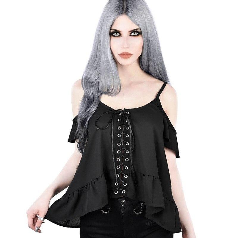 2019 Vrouwen Sexy Mouwloze Lace Up Vest Casual Streetwear Ruche Mouw Zwart Zomer Party Vintage Top Vrouwelijke Tee Tops