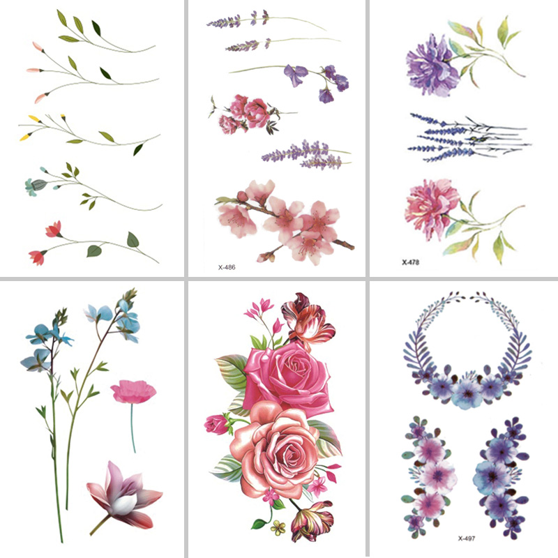 Wyuen Flower Rose Waterproof Temporary Tattoo Sticker for Adults Kids Body Art Women New Design Water
