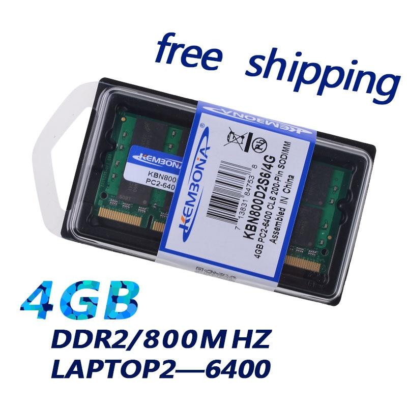 KEMBONA Sodimm LAPTOP DDR2 667Mhz 800Mhz 4G 4GB for Notebook RAM Memory Lifetime warrantyKEMBONA Sodimm LAPTOP DDR2 667Mhz 800Mhz 4G 4GB for Notebook RAM Memory Lifetime warranty