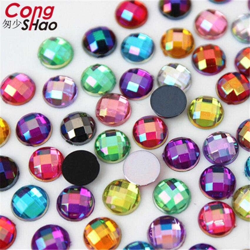 100pcs 6mm 3D Nail Art Round Stones flatback crystals Acrylic AB Rhinestone trim phone DIY not hotfix Face Decoration WC466