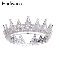 Hadiyana Fashion Luxury Cubic Zirconia Crown Tiaras For Women Copper Queen Crown Tiara Wedding Bridal Hair Accessories HG6087