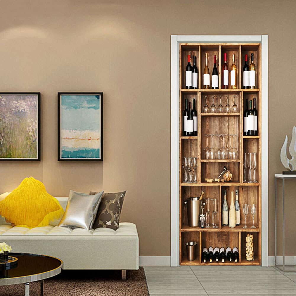 Door Sticker Canvas Print 3d Wine Cabinet Picture Self Adhesive Waterproof Wallpaper Home Decor For Living Room Art Canvas Paste