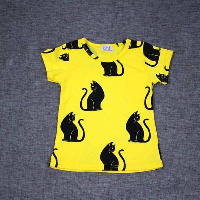 2015 мини марка baby boy девушка одежда футболка черная кошка мультфильм дети майка чистого хлопка мальчик девочка одежда