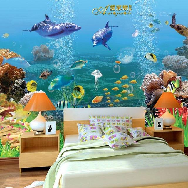 Free Shipping Stereo Mural Wallpaper Underwater World Marine Fish Kids Room Custom Size