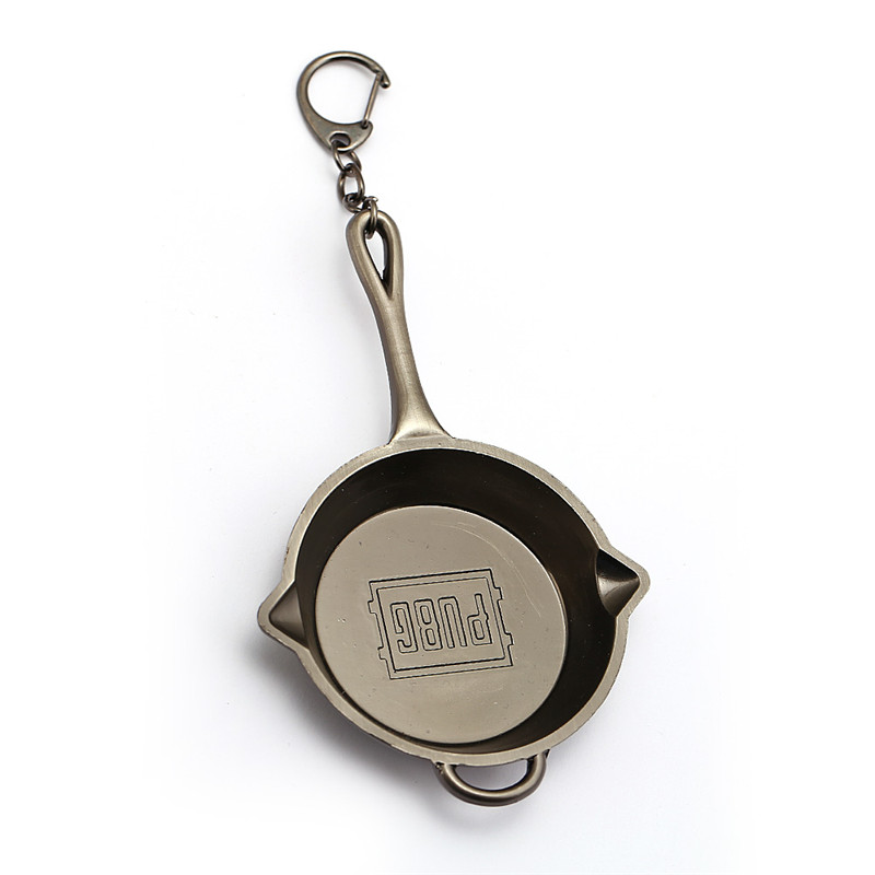 HSIC New 2018 PUBG Jewelry Keychain Metal Alloy Playerunknowns Battlegrounds Key Ring Holder Mini Pans Key Chains Men HC12761