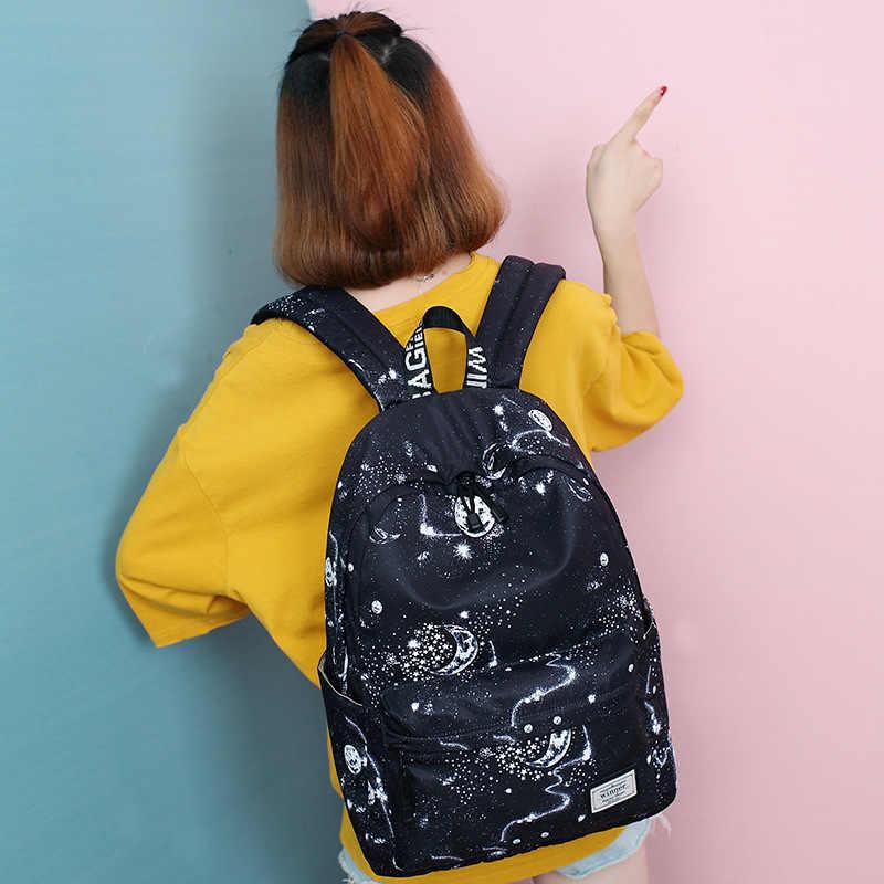 Ciker Fashion Wanita Ransel Bergaya Galaxy Bintang Ruang Percetakan Ransel Gadis Hitam Ransel Tas Sekolah Mochilas Sac