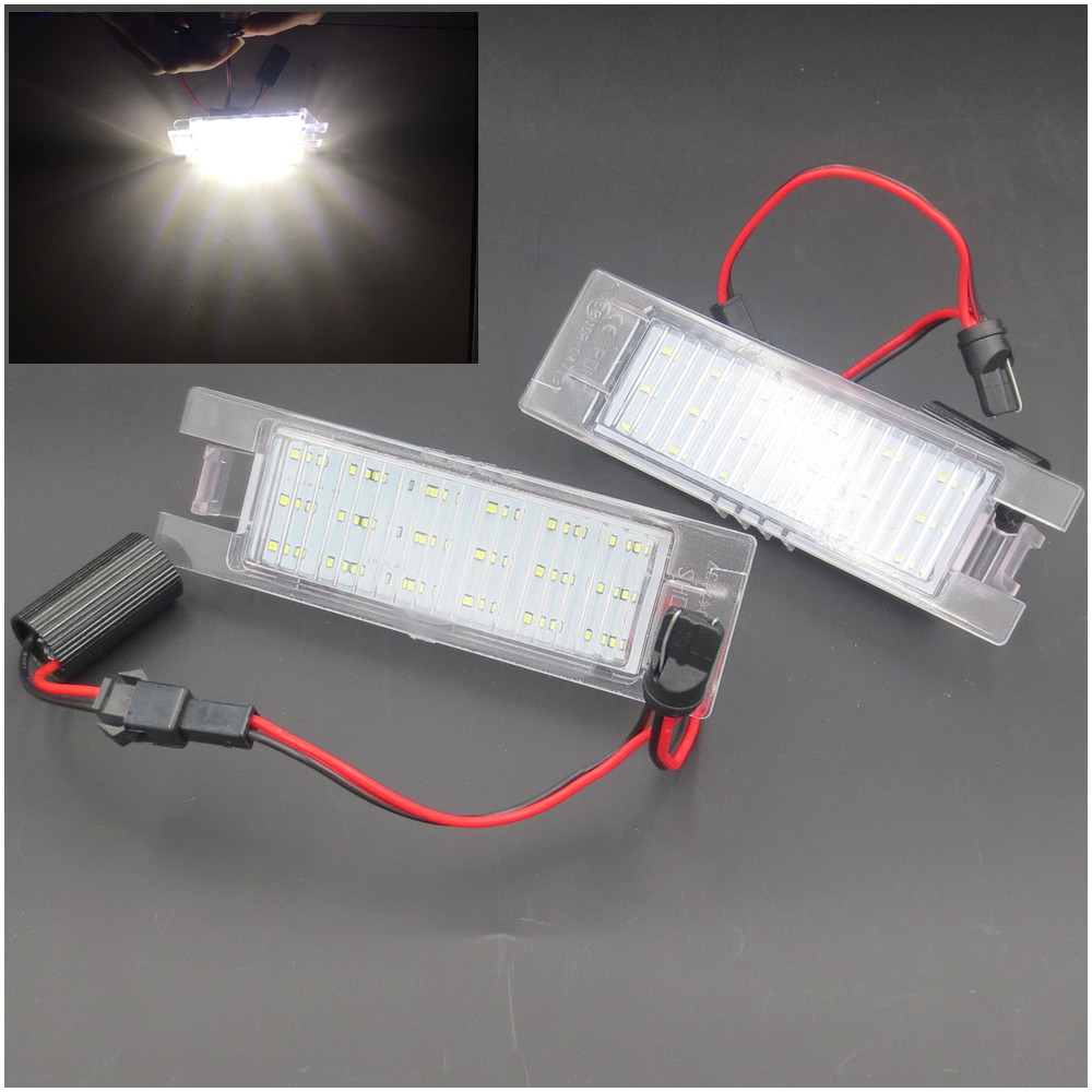 XYIVYG 2pcs 12V SMD 3528 White Light 18 LEDs License Plate Lamp for Vauxhall Opel Astra Corsa D Astra H Zafira B