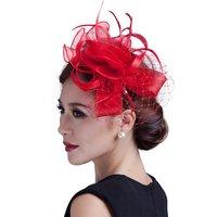 Women Fancy Feather Fascinator Hats Birdcage Veil Wedding cocktail Hats and fascinators flower handmade Hair Accessories
