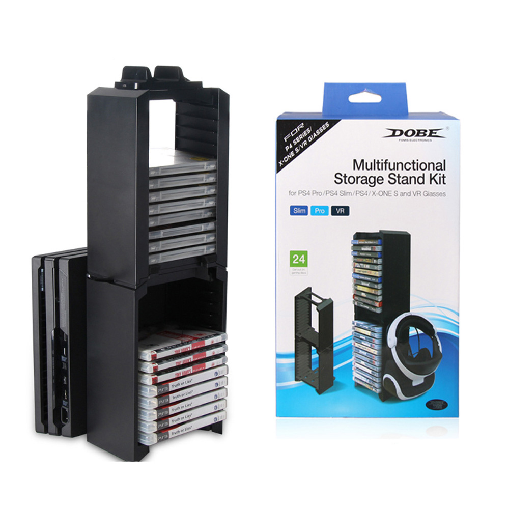 Dual Ultra-Large Capacity Game Disk Tower Vertical Stand Compatible With XBOX ONE Slim,PS4,PS4 Slim,PS4 PRO