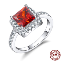 Haleigha Fine Jewelry Square Shape 7 7mm Garnet Color Stone 925 Sterling Silver Jewelry Design For