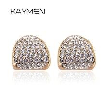 Фотография New Drop-water Style Pure Gold Color Inlaid Full Rhninestones Stud Earrings boucles d
