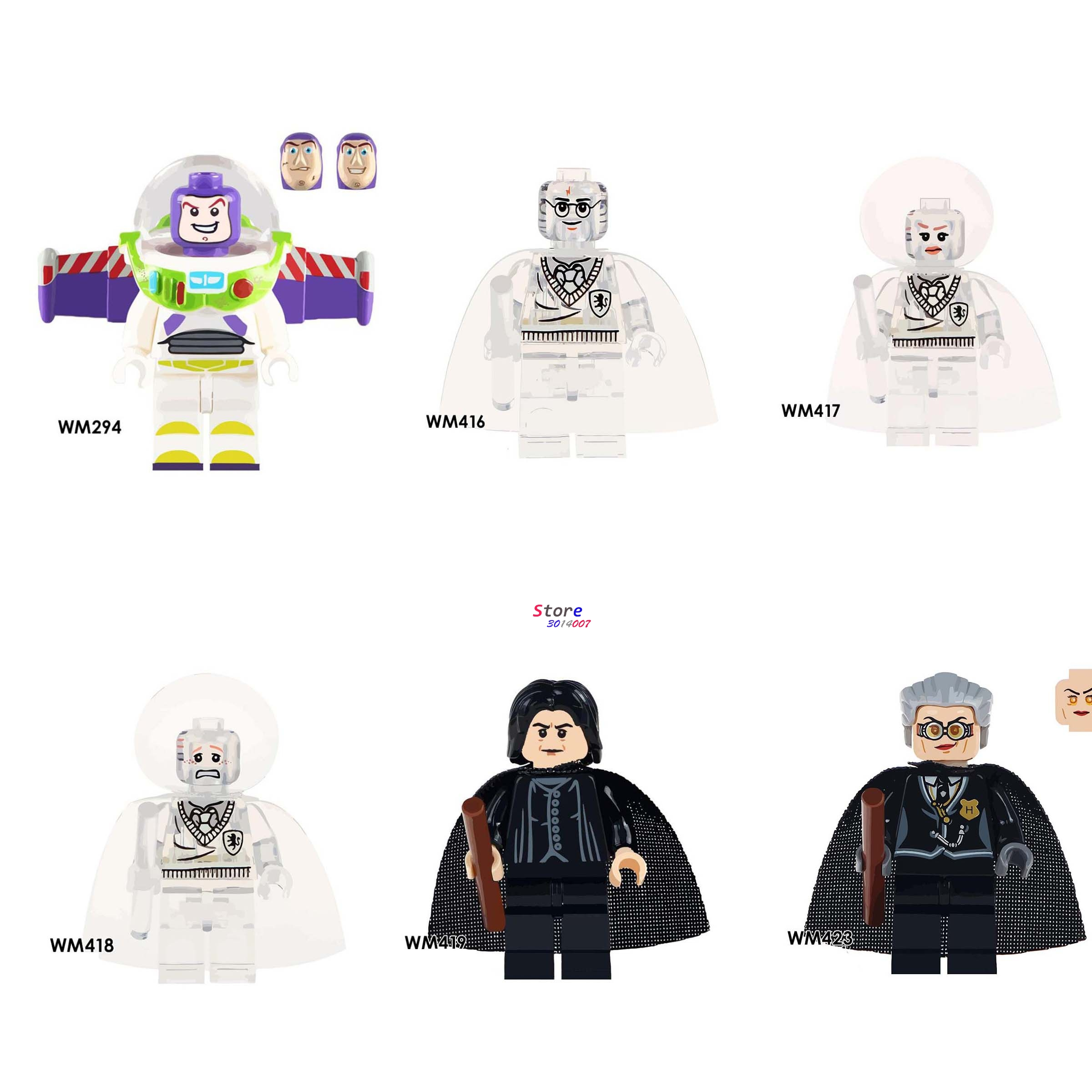Single Story Buzz Lightyear Figures Harry Potter Crystal Ron Weasley Severus Snape Madame Hooch building block toys for children harry potter ron weasley gregory goyle lucius malfoy argus narcissa professor sprout figures bricks toys for children kl9002